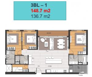 Bán lại căn hộ 3 phòng ngủ Empire City tầng 28 view sông Saigon, Bitexco